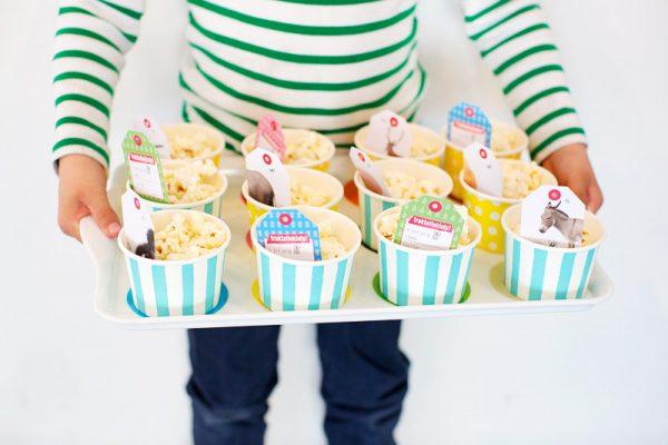 traktatieklets popcorn dienblad blauw
